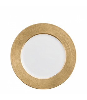 Sous-assiette à dîner blanche avec détail doré