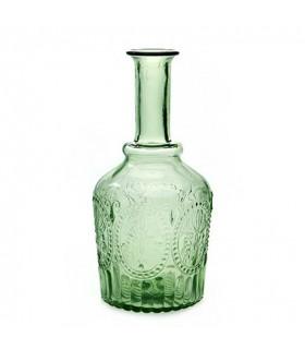 Carafe en verre vert avec relief fleur de lys