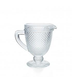 Carafe facetté avec anse en verre transparente