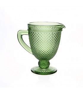 Carafe facetté avec anse en verre vert