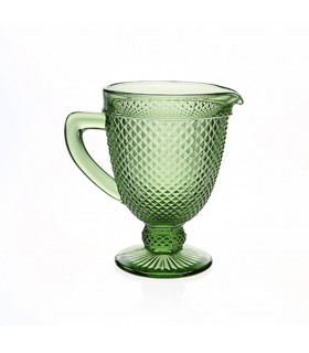 Carafe_Faceted with handle green