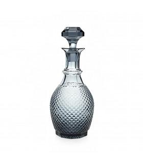 Carafe en verre à facettes couleur grise fumée