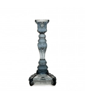 Glass candlestick smoke gray