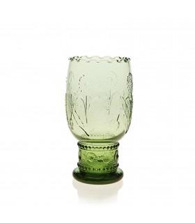 Médaillon verre à pied  vert