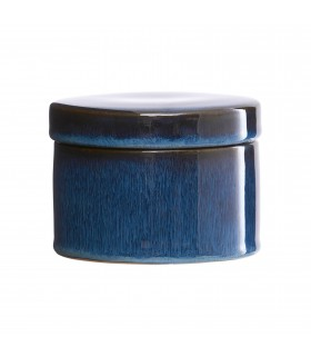 Glazed jar with lid dark blue