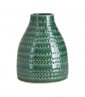 Vase small emerald green dotted