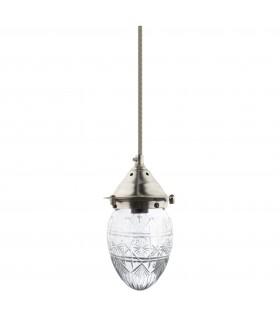 Lumière_Lampe plafonnier verre facetté clair
