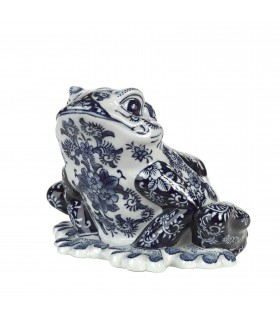 Porcelain tabletop frog sculpture
