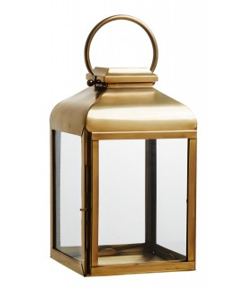 Lantern large brass with clear glass