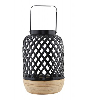 Large contemporary black wicker lantern