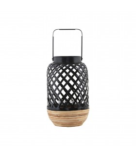 Small contemporary black wicker lantern