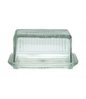 Beurrier avec son couvercle en verre aspect vintage