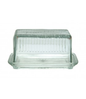 Butter dish with a glass lid in vintage optic