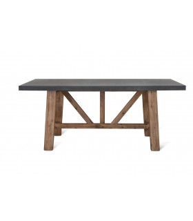 Outdoor table of cement and acacia