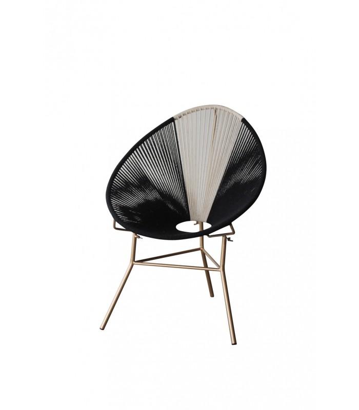 chaise de cordes noir et blanc. Black Bedroom Furniture Sets. Home Design Ideas