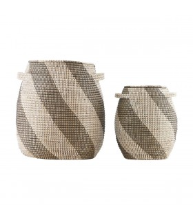Weaved baskets white and grey