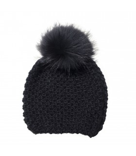 Fur_Bobble hat of wool and raccoon