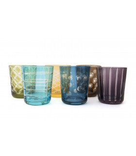 Glass_Multi coloured glasses Set of 6