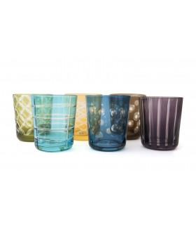 Glass_Multi coloured glasses Set of 6
