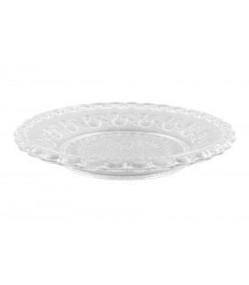 Assiette transparente ornée en verre