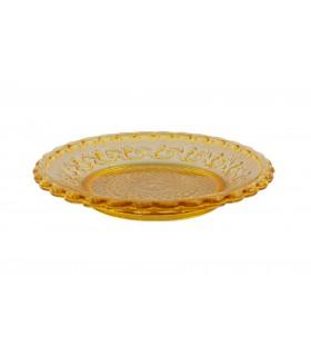 Assiette trensparente dessert en verre ambre jaune