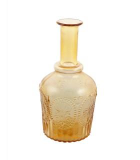 Carafe en verre relief fleur de lys ambre