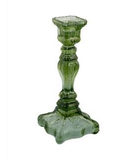 Bougeoir carré en verre vert