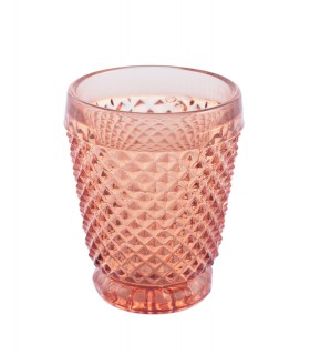 Faceted pink glass