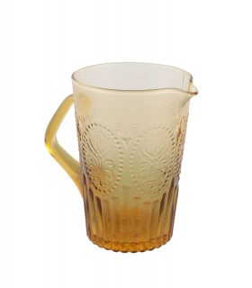 Medallion pitcher amber glass