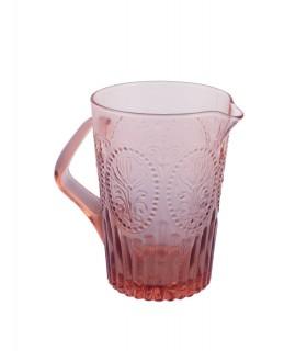 Pichet en verre rose avec relief fleur de lys