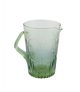 Medallion pitcher green glass