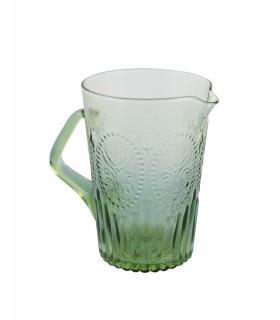 Pichet en verre vert avec relief fleur de lys
