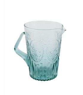 Carafe en verre turquoise médaillon