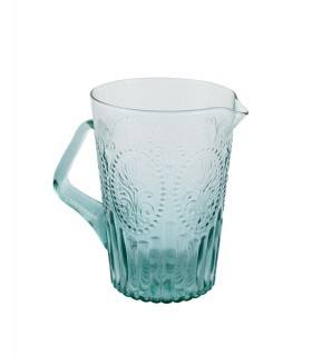 Pichet en verre turquoise avec relief fleur de lys