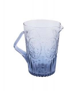 Pichet en verre bleu avec relief fleur de lys