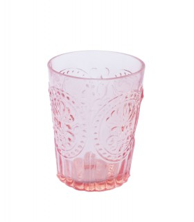 Pink glass with fleur-de-lis ornament