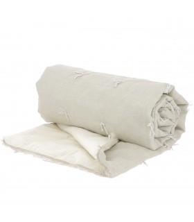 Lin Bout de lit en blanc nature